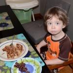 Purple waffles for breakfast